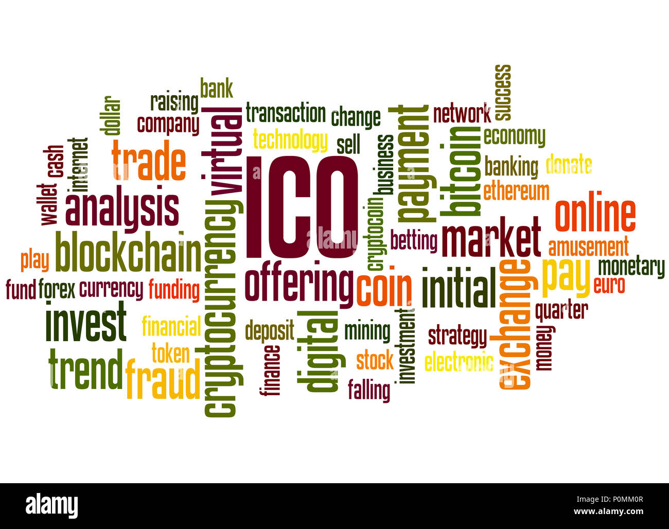 ICO (Initial coin offering) word cloud concept on white background. - Stock Image