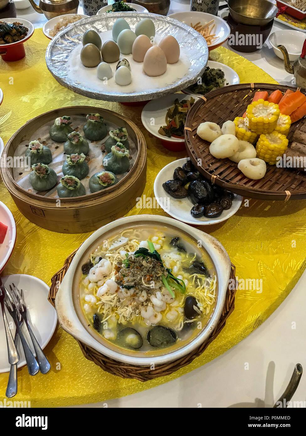 Yangzhou, Jiangsu, China. Table Setting for Breakfast, Ye Chun ...