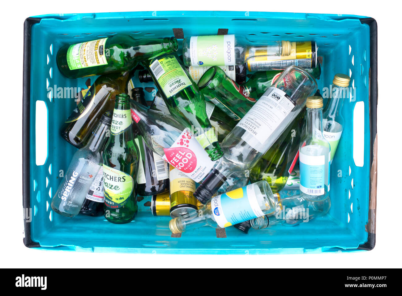 Overhead view of a studio shot of glass waiting to be recycled isolated on white - John Gollop - Stock Image