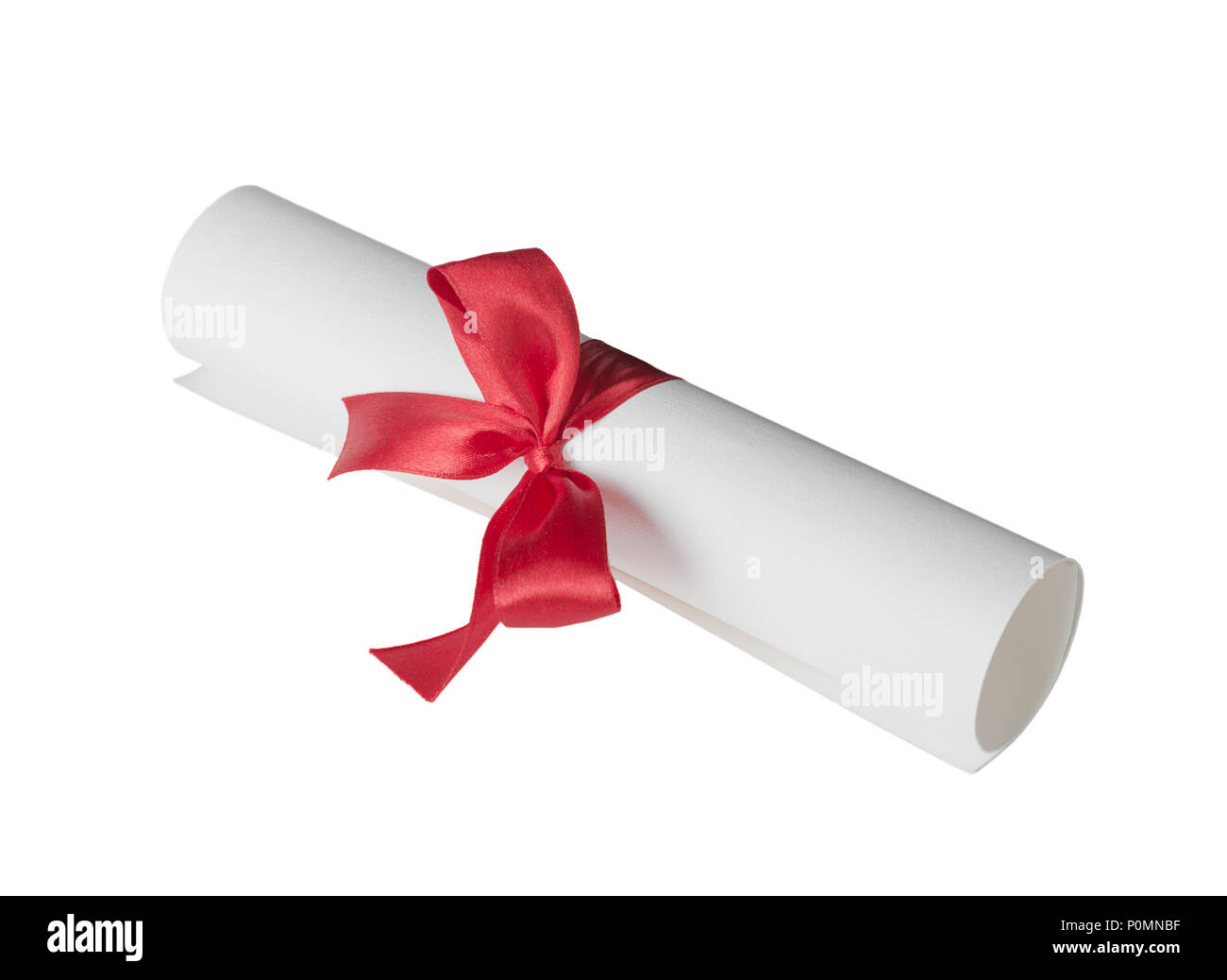 Paper scroll (diploma) tied with red ribbon isolated on a white background - Stock Image