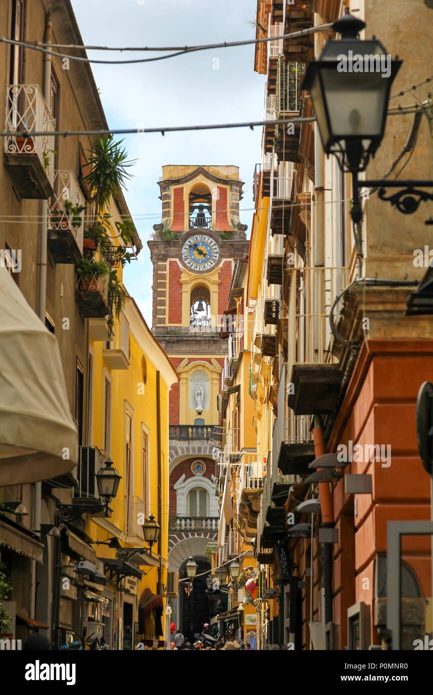 View along the Via Torquato Tasso towards the Chiesa dei Servi di Maria Sorrento  Amalfi Coast Campania Italy Europe - Stock Image
