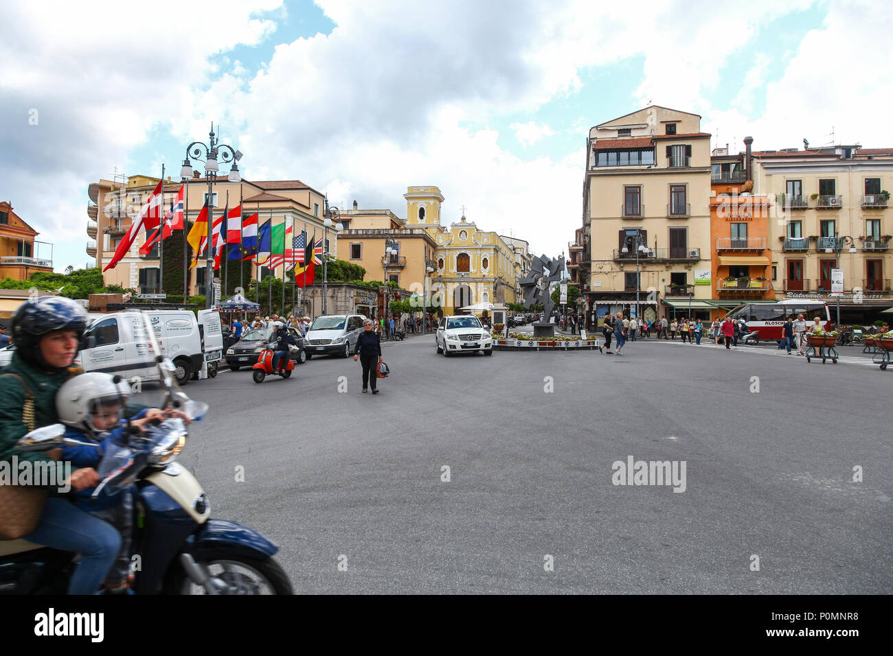 Piazza Tasso is a central place and square in the middle Sorrento, Italy, - Stock Image