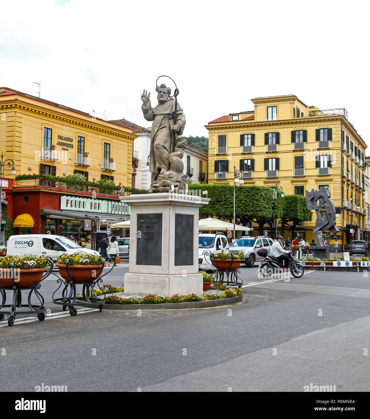 Statue of St. Antonino Abbate in Piazza Tasso, central place and square in the middle Sorrento, Italy, - Stock Image
