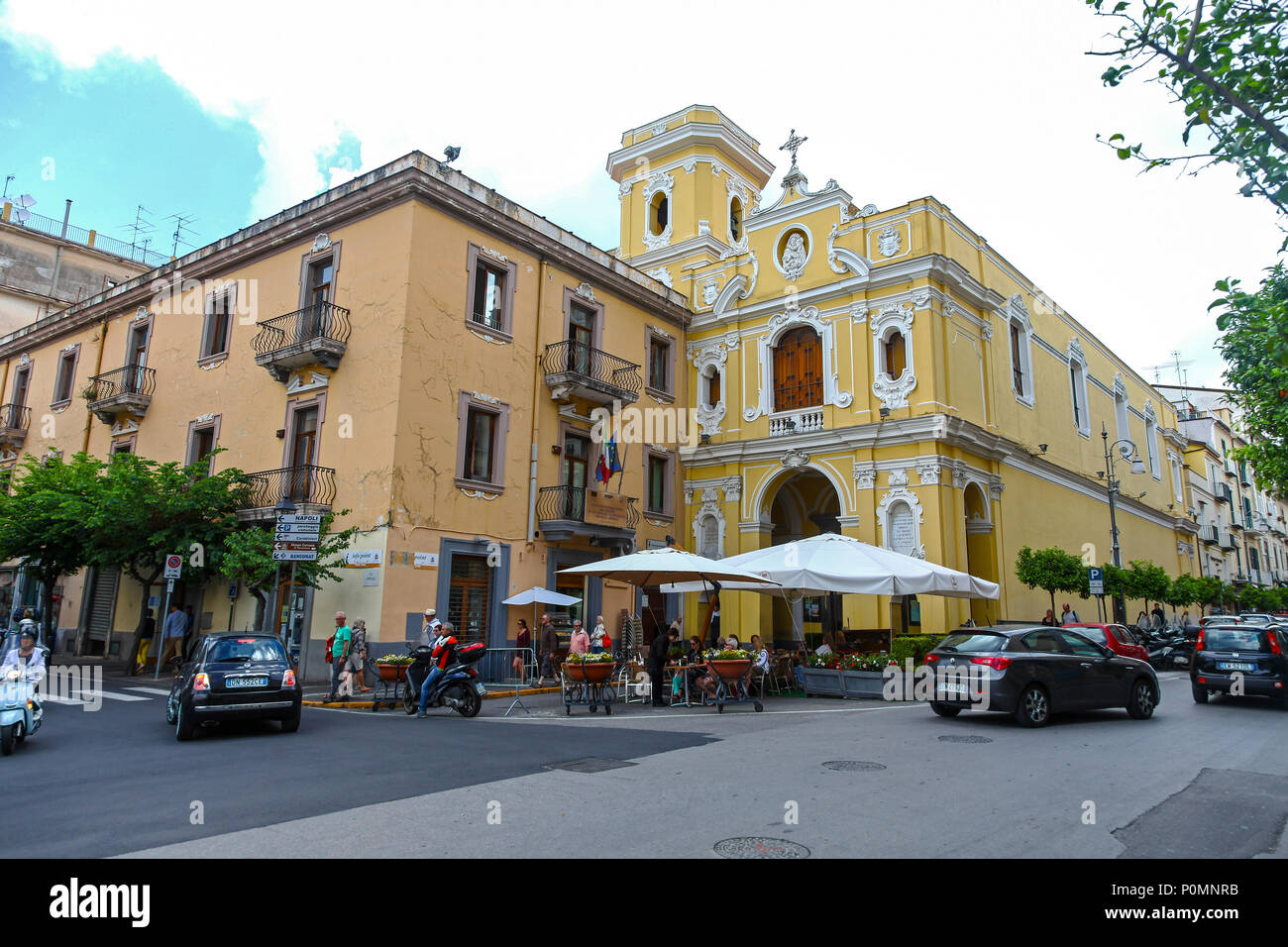 The church or Chiesa di Maria del Carmine photographed from Piazza Tasso, a central place and square in the middle Sorrento, Italy, - Stock Image