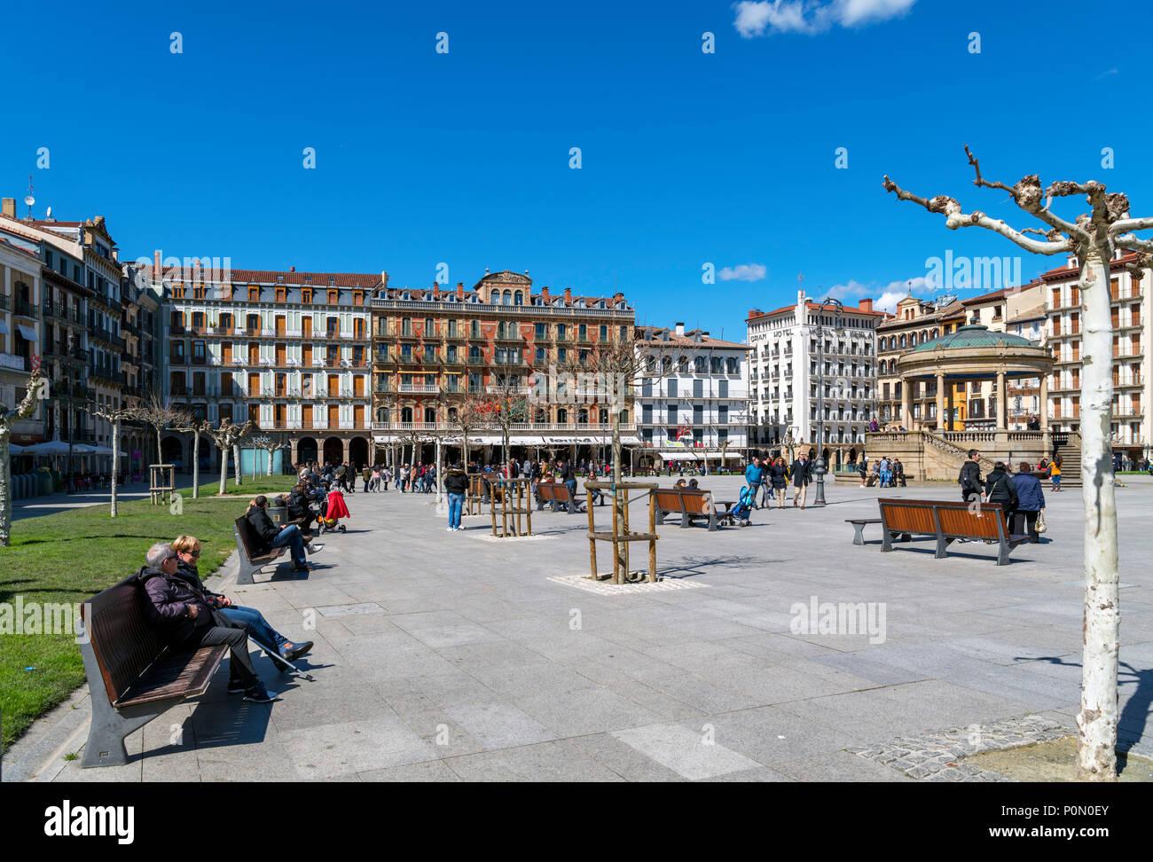 Pamplona, Spain. Plaza del Castillo in the old town (casco antiguo), Pamplona, Navarra, Spain - Stock Image