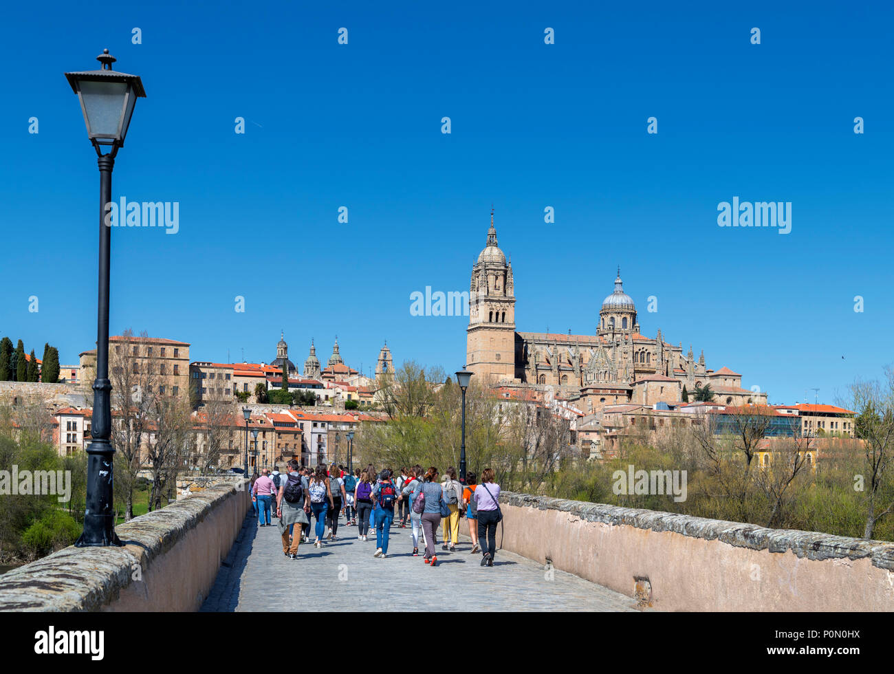 Salamanca, Spain. View towards the old town and cathedrals from the Puente Romano (Roman Bridge), Salamanca, Castilla y Leon, Spain - Stock Image