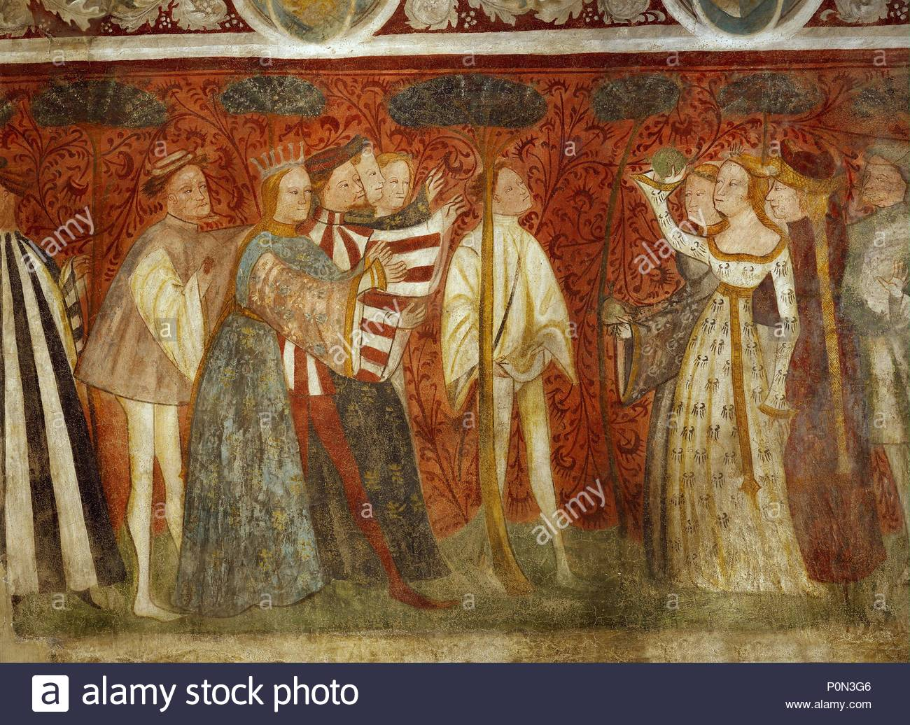 Murals in the knights\'hall of Runkelstein castle show a ballgame in ...