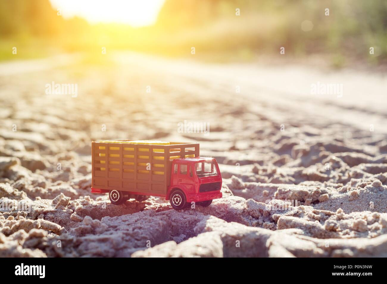 Toy Retro Truck On The Road A Symbol Of Cargo Transportation Stock