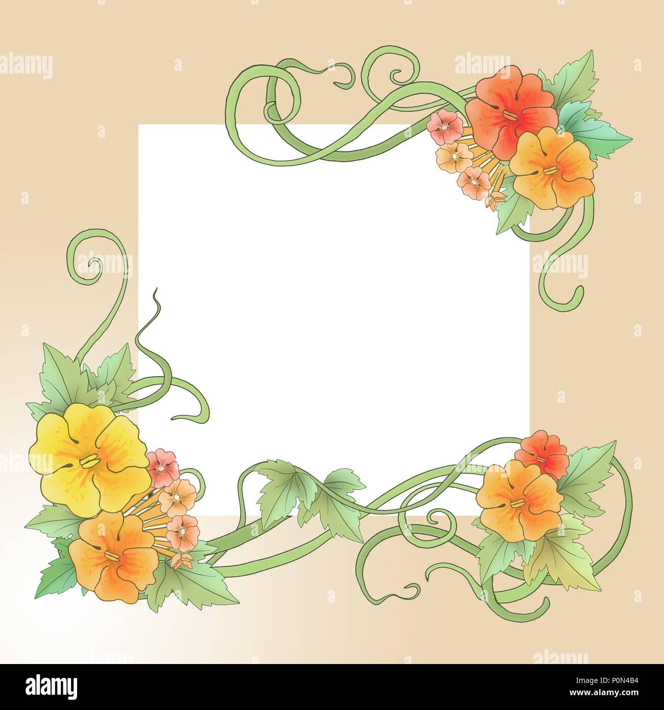 Floral ornament in Art-Nouveau style, spring motifs, illustrations ...