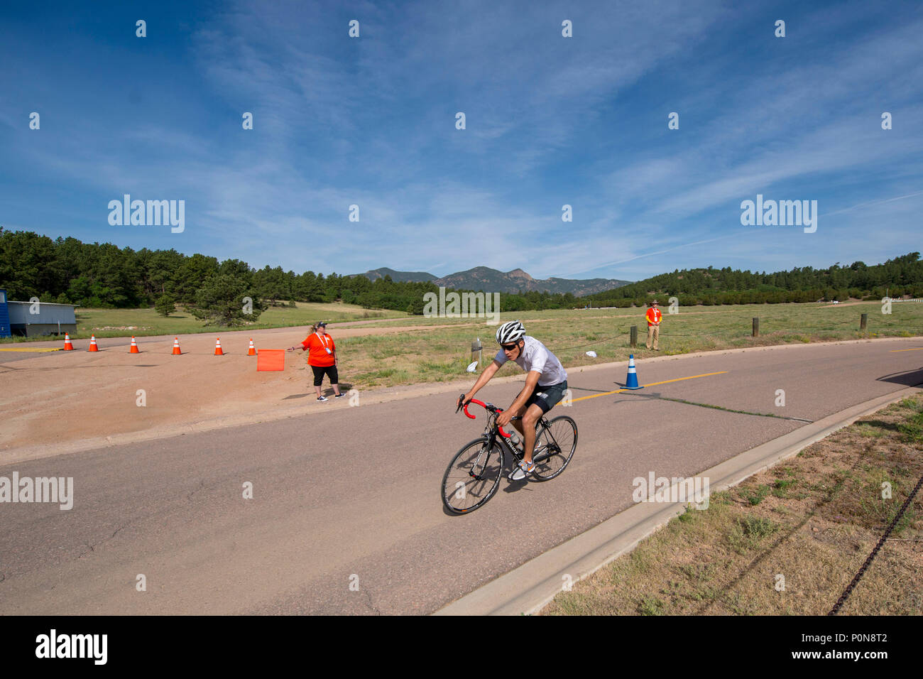 SOCOM Spc. Vairon Caicedo Ocampo competes in cycling during the 2018 DoD Warrior Games at the U.S. Air Force Academy in Colorado Springs on June 6, 2018.  The Warrior Games are an annual event, established in 2010, to introduce wounded, ill and injured service members to adaptive sports as a way to enhance their recovery and rehabilitation.     (DoD Photo by Roger L. Wollenberg) Stock Photo