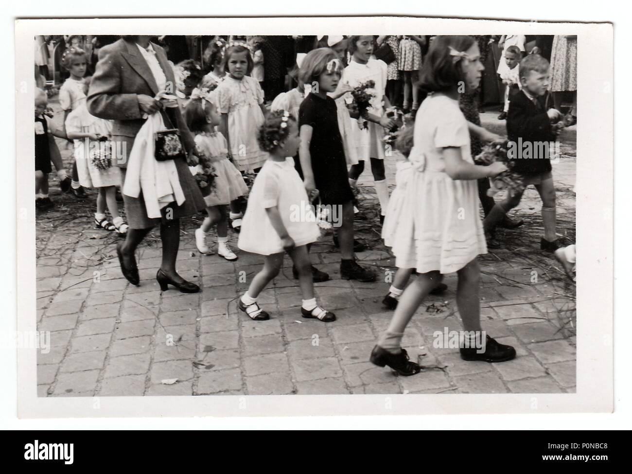 HODONIN, THE CZECHOSLOVAK REPUBLIC, CIRCA 1943: Vintage photo shows religious (catholic) celebration, circa 1943. - Stock Image