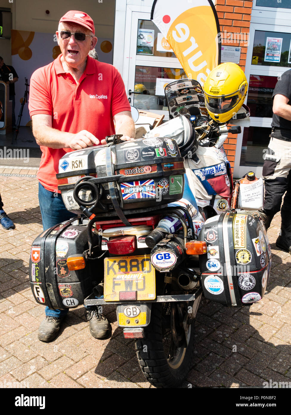 Ian Coates, world traveller / adventurer, Isle of Man TT 2018. Tourist Trophy road race, mountain course - Stock Image