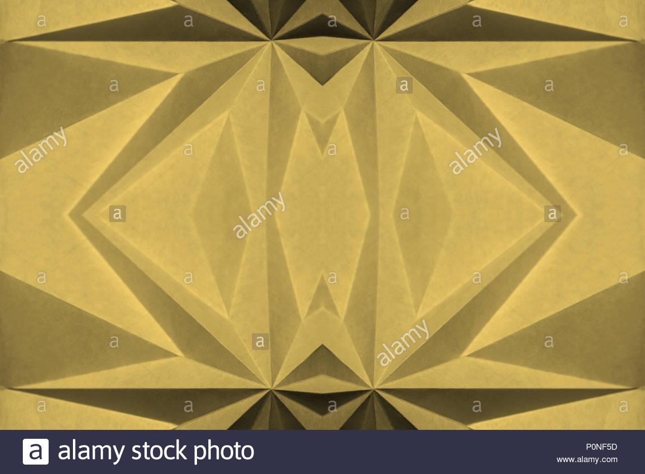 yellow abstract wallpaper background Origami, Bamboo; Pantone 14-0740. Angular monochrome graphic design element. - Stock Image