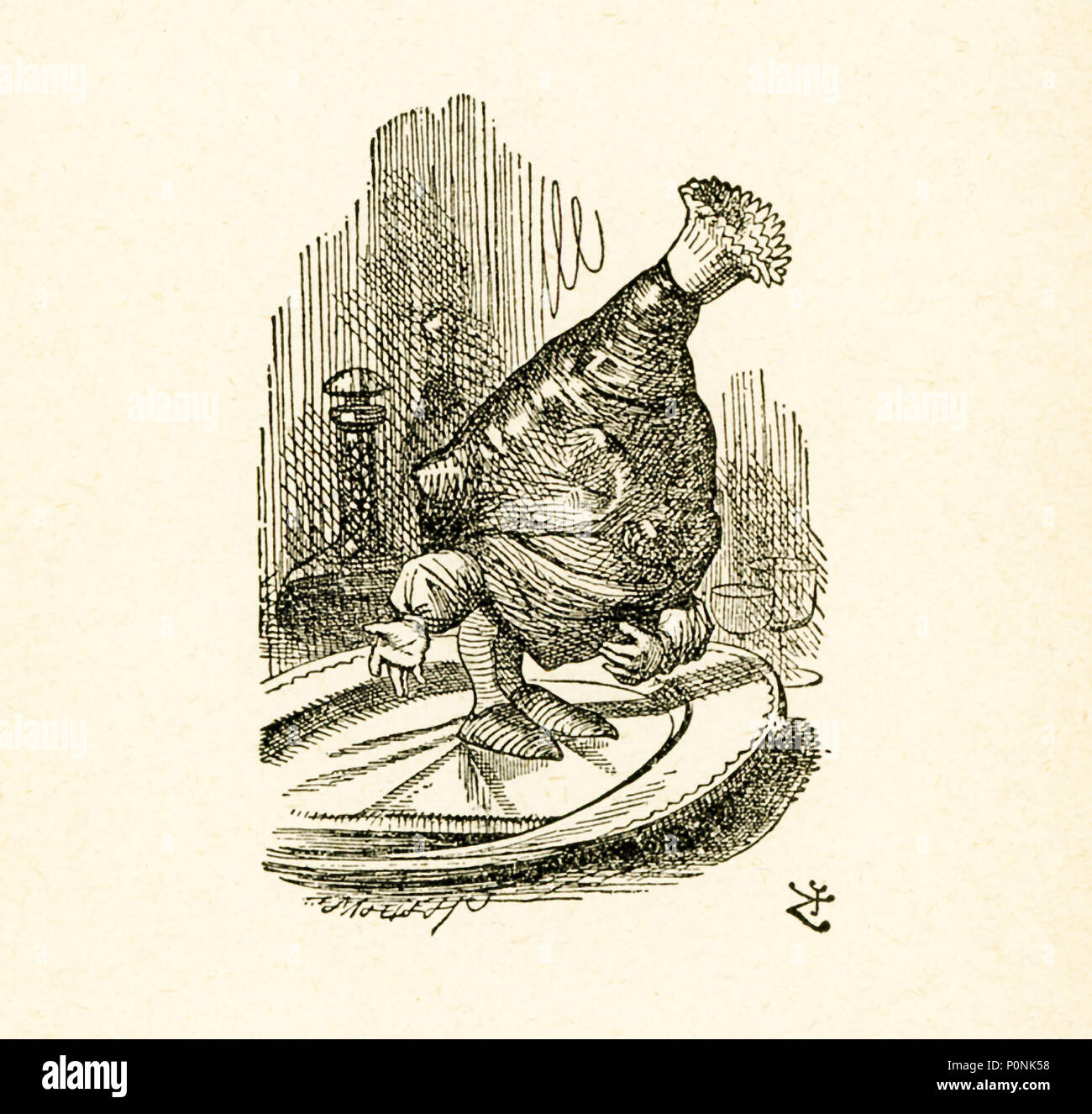 This illustration of a leg of mutton is from 'Through the Looking-Glass and What Alice Found There' by Lewis Carroll (Charles Lutwidge Dodgson), who wrote this novel in 1871 as a sequel to 'Alice's Adventures in Wonderland.' - Stock Image