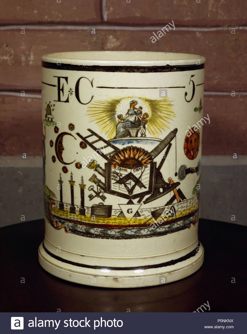 Freemasons Goblet Stoneware With Freemasons Symbols L To R