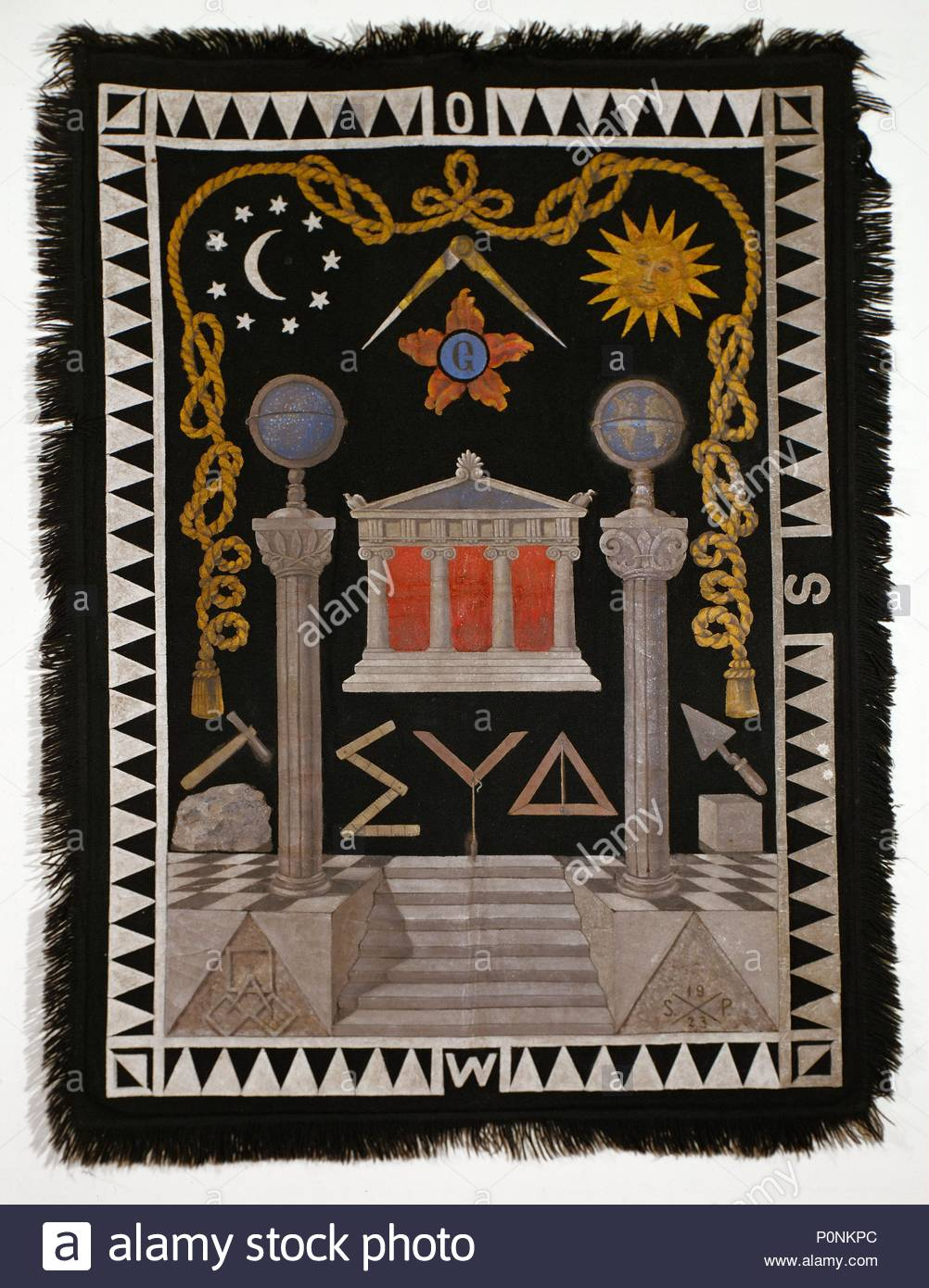 Freemasons Rug From A Lodge Symbols Include A Masonic Temple