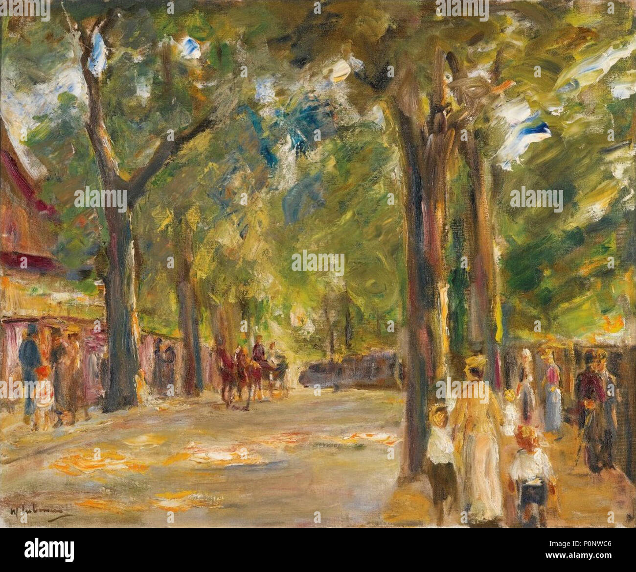 'Figures on the Grosse Seestrasse in Wannsee' by Max Liebermann, c 1920 - Stock Image