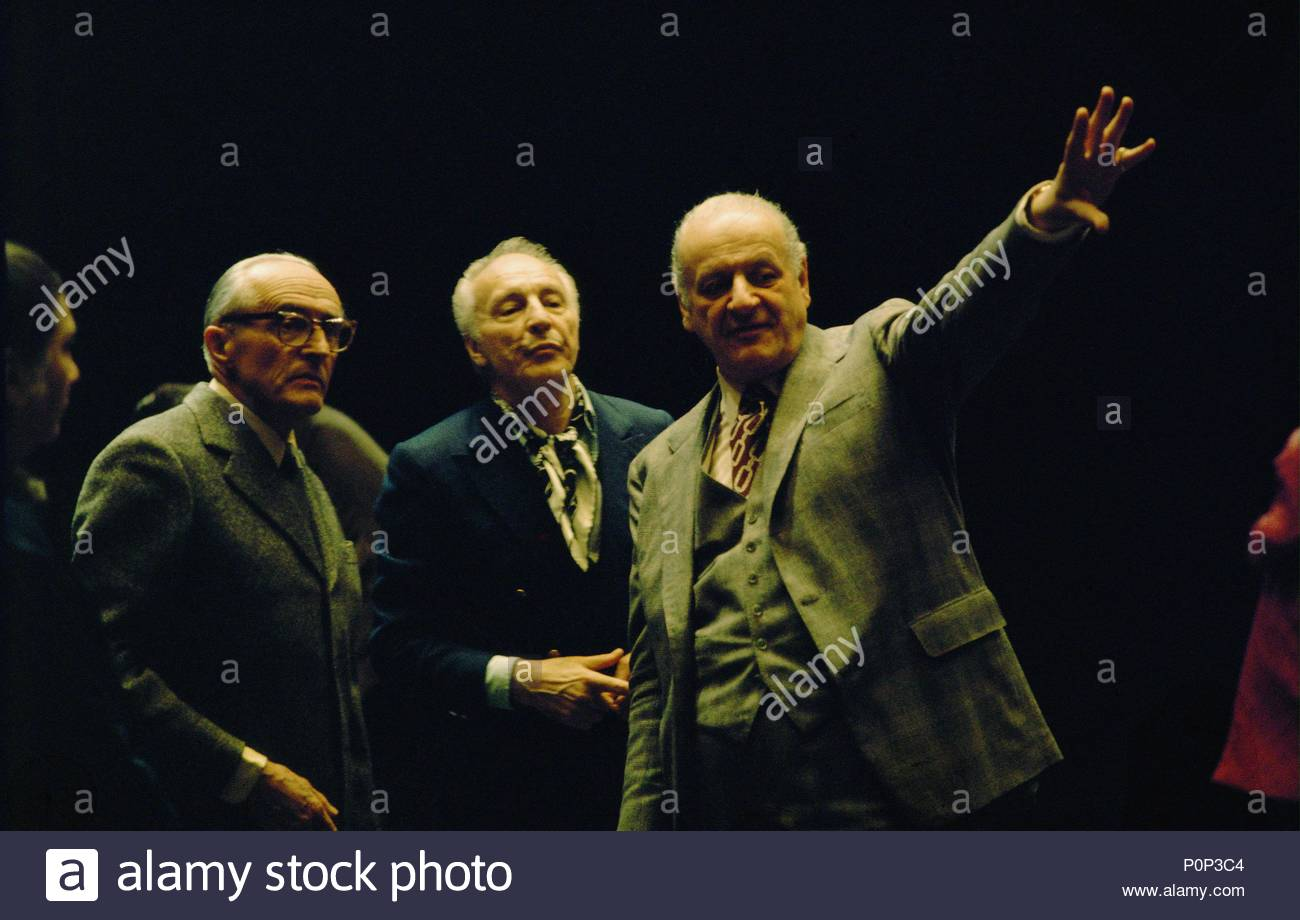 Director of the Paris Opera Rolf Liebermann (right), choreographer Georges Balanchine (center) and director Rene Clair (left), at the Palais Garnier, Paris,1973. Location: Operahouse Palais Garnier, Paris, France. - Stock Image