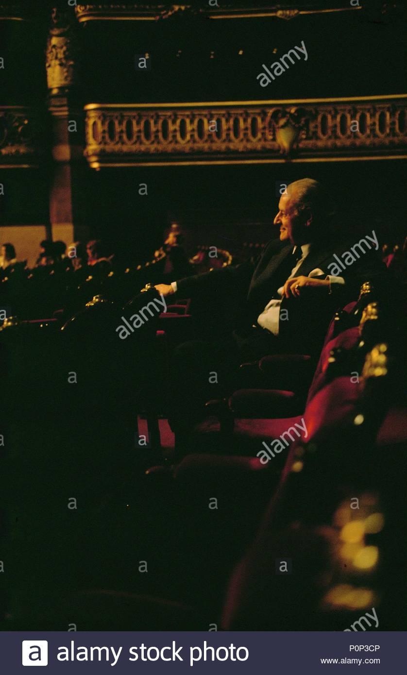 Director Rolf Liebermann watching a rehearsal at the Palais Garnier, Paris,1973. Location: Operahouse Palais Garnier, Paris, France. - Stock Image