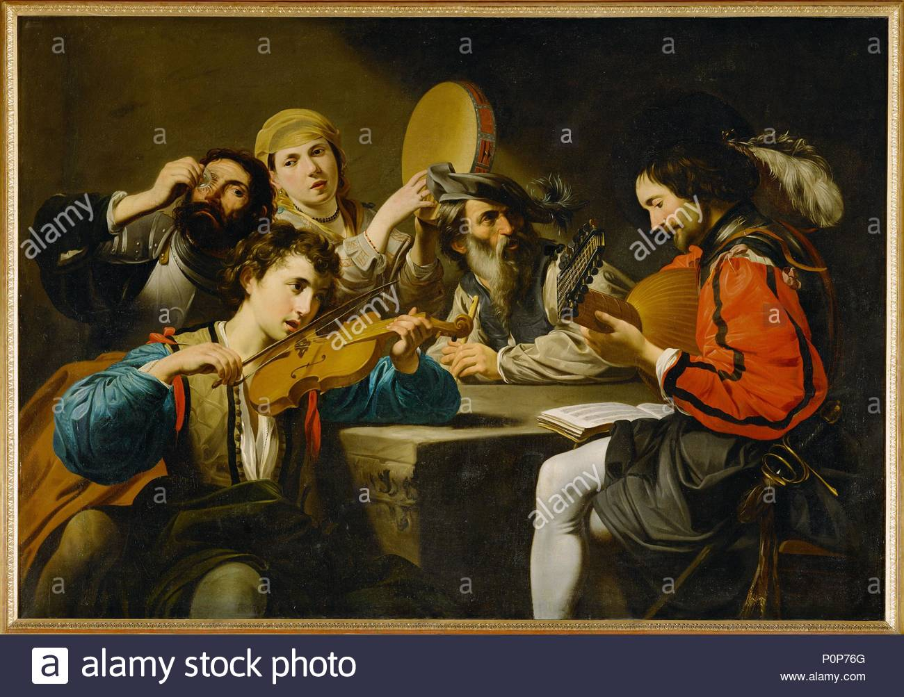Concert with four persons and one drinker. Canvas,117 x 186 cm Inv. GK 704. Author: Valentin de Boulogne (1591-1632). Location: Hessisches Landesmuseum, Darmstadt, Germany. - Stock Image