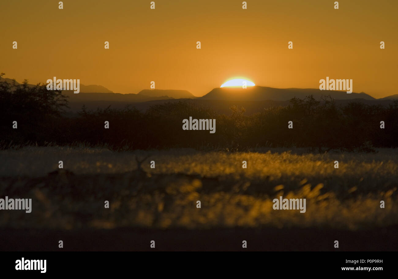 Sunset in Africa. Countryside at dusk. - Stock Image
