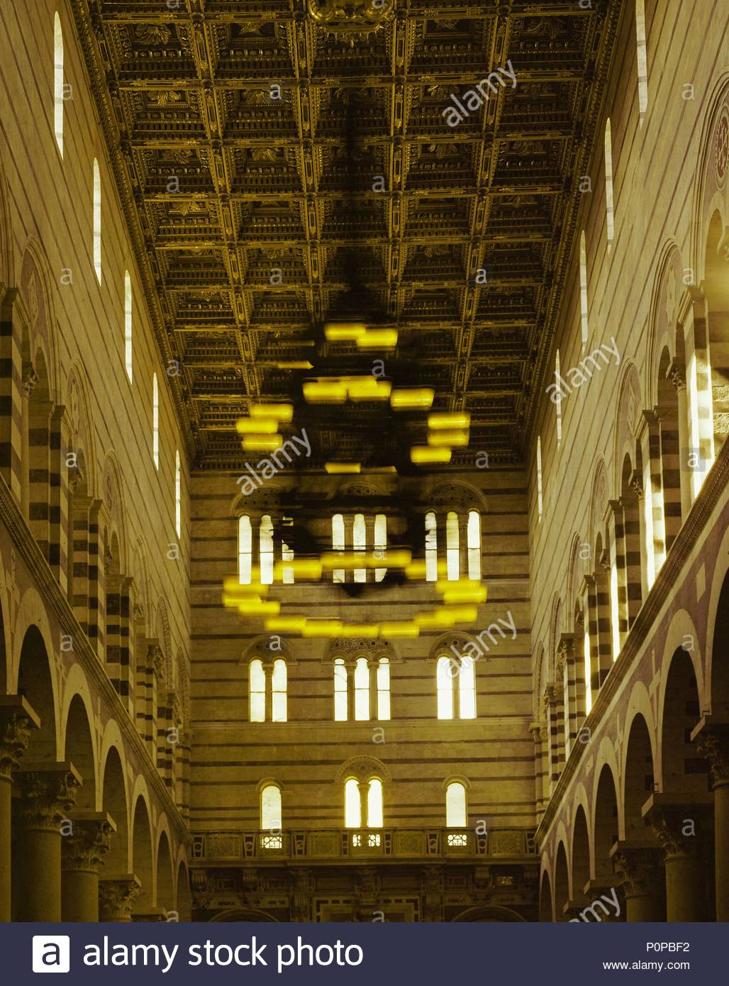 Swinging chandelier in the cathedral of pisa in 1583 galileo swinging chandelier in the cathedral of pisa in 1583 galileo conceived the idea of pendulous motion while looking at this chandelier mozeypictures Image collections