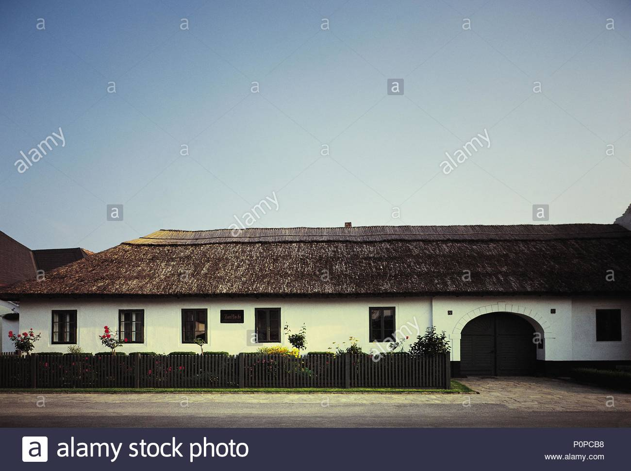 The straw-thatched farmhouse in Rohrau, Austria, where Joseph Haydn was born and where his father worked as a wheelwright. Location: Haydn Museum, Rohrau, Austria. - Stock Image