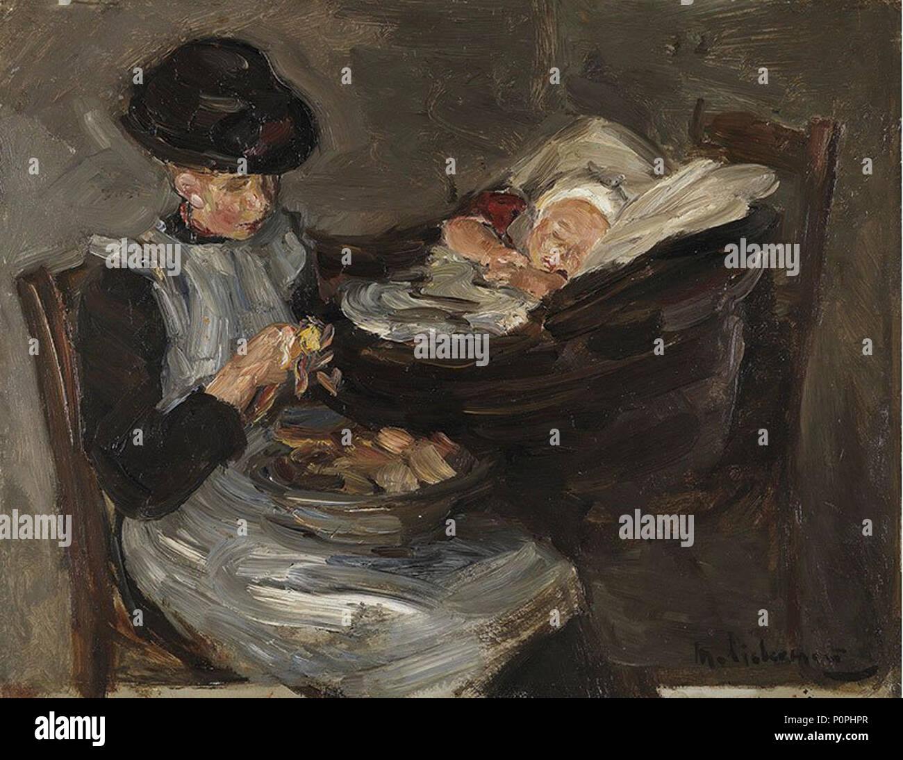 'Girl from Laren Peeling Potatoes with Sleeping Child in a Basket' by Max Liebermann. - Stock Image