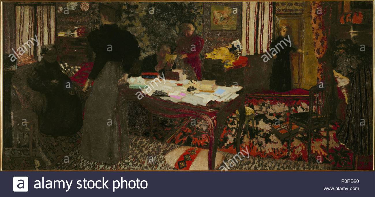 grand interieur aux six personnages 1897 large interior with six persons canvas 90 x 194 cm author edouard vuillard 1868 1940