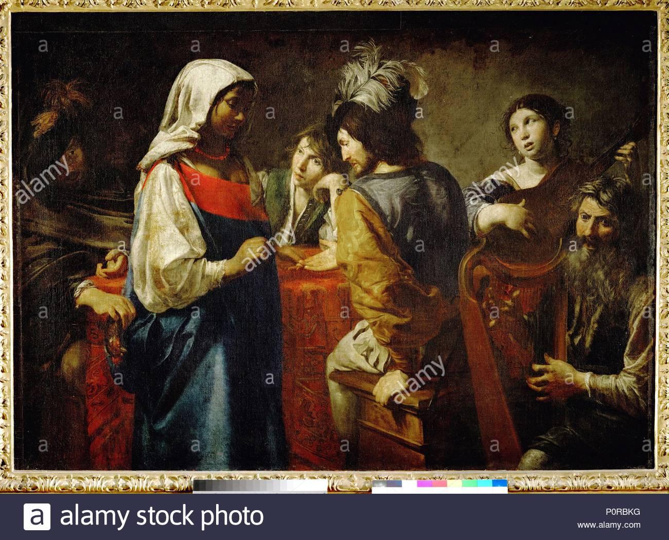 La diseuse de bonne aventure-The fortuneteller. Canvas, 125 x 175 cm INV. 8254. Author: Valentin de Boulogne (1591-1632). Location: Louvre, Dpt. des Peintures, Paris, France. - Stock Image