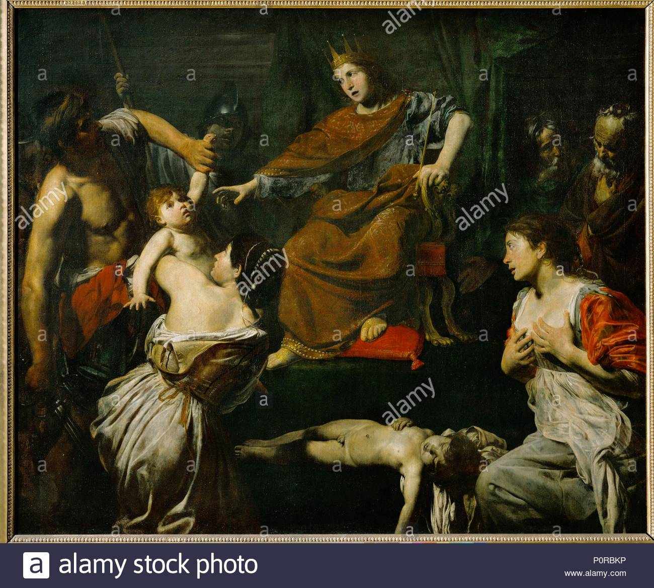Le jugement de Salomon-The judgement of Solomon Canvas, 176 x 210 cm INV. 8246. Author: Valentin de Boulogne (1591-1632). Location: Louvre, Dpt. des Peintures, Paris, France. - Stock Image