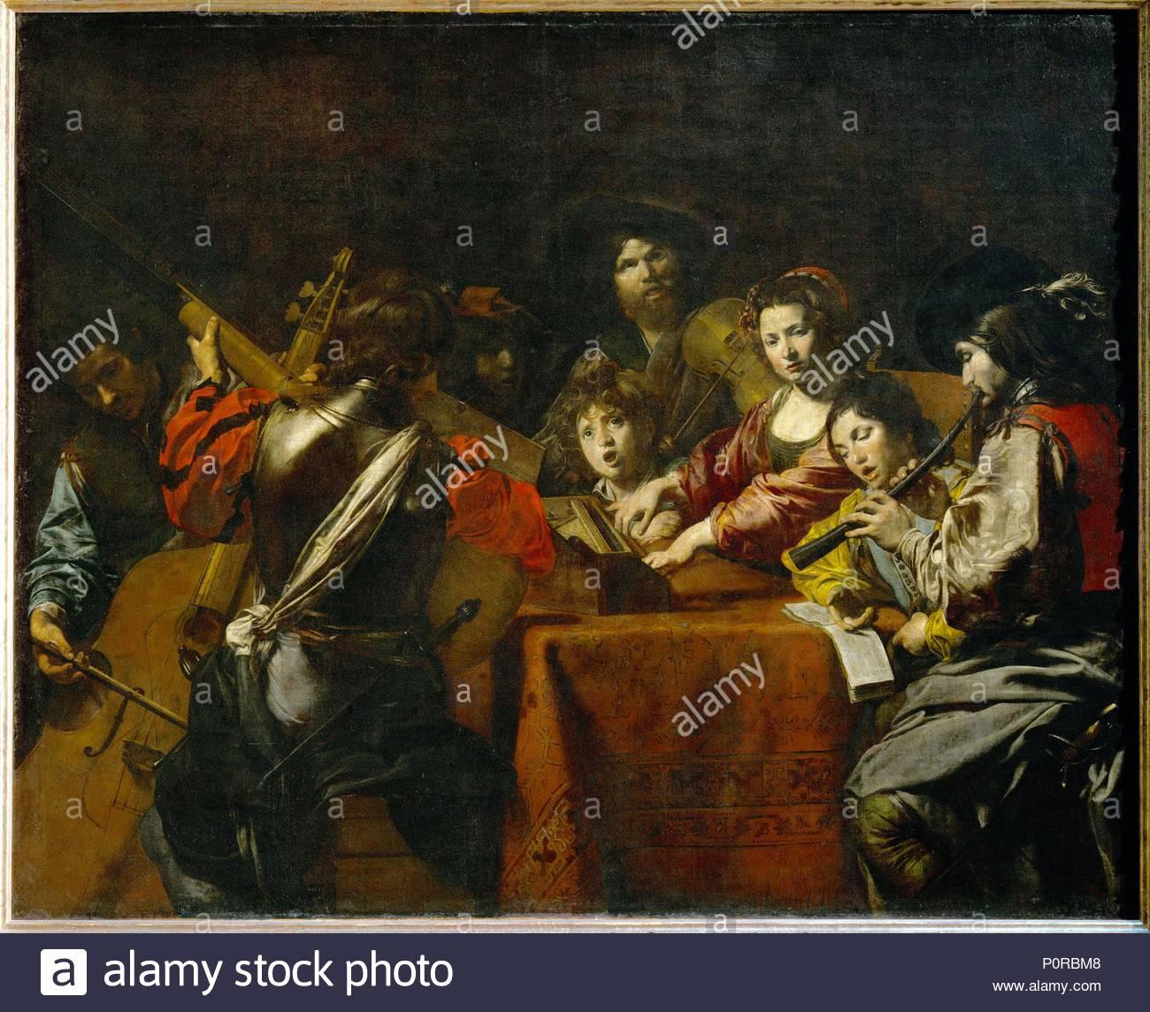 Un concert-A concert Canvas, 175 x 216 cm INV. 8252. Author: Valentin de Boulogne (1591-1632). Location: Louvre, Dpt. des Peintures, Paris, France. - Stock Image