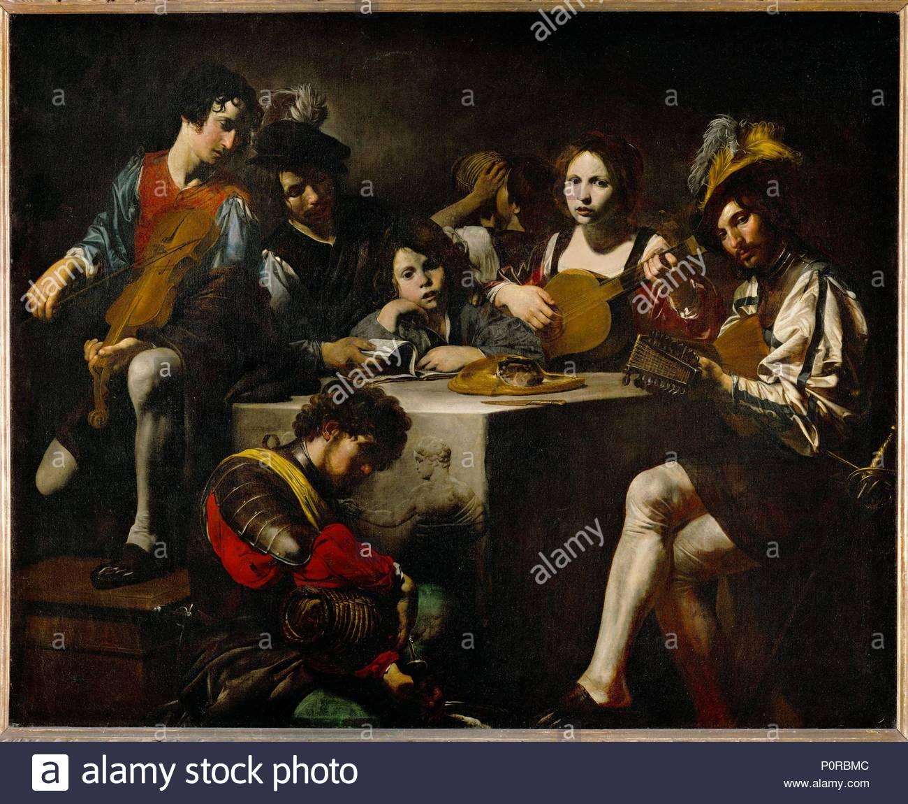 Un concert au bas-relief-A concert around the bas-relief. Canvas, 173 x 214 cm INV. 8253. Author: Valentin de Boulogne (1591-1632). Location: Louvre, Dpt. des Peintures, Paris, France. - Stock Image