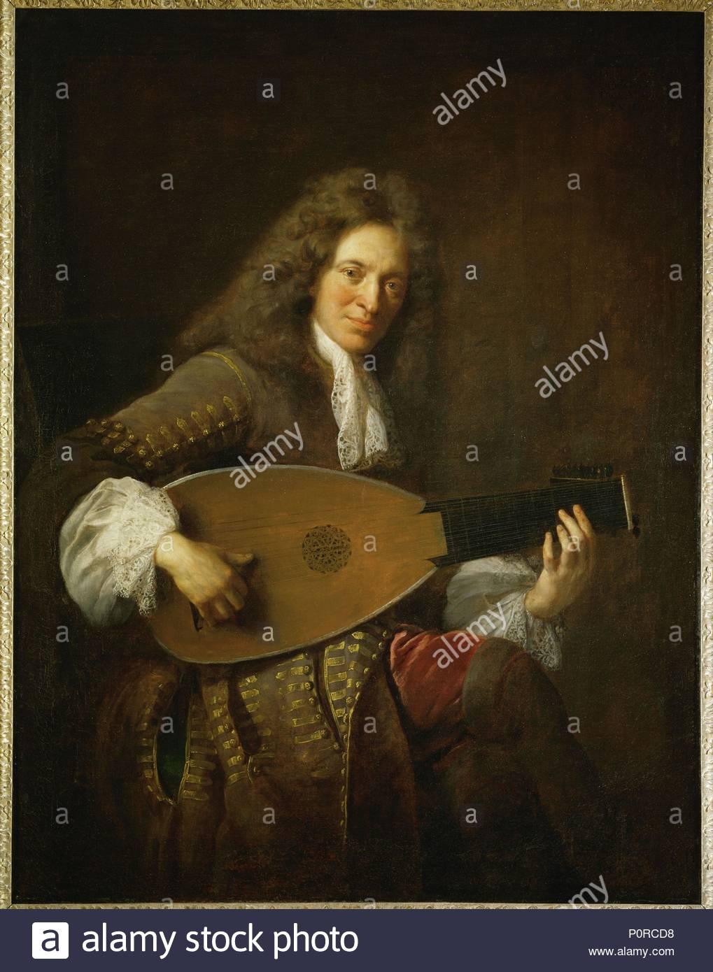 Charles Mouton (1626-1710), lute-player Canvas, 138 x 106 cm R. F. 2469. Author: François de Troy (1645-1730). Location: Louvre, Dpt. des Peintures, Paris, France. - Stock Image