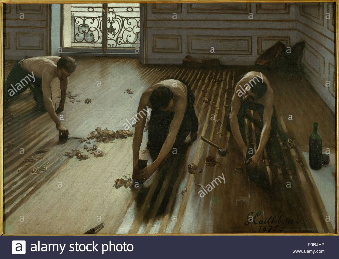 Les Raboteurs de Parquets. Oil on canvas (1875) RF 2718. Author: Gustave Caillebotte (1848-1894). Location: Musee d'Orsay, Paris, France. - Stock Image