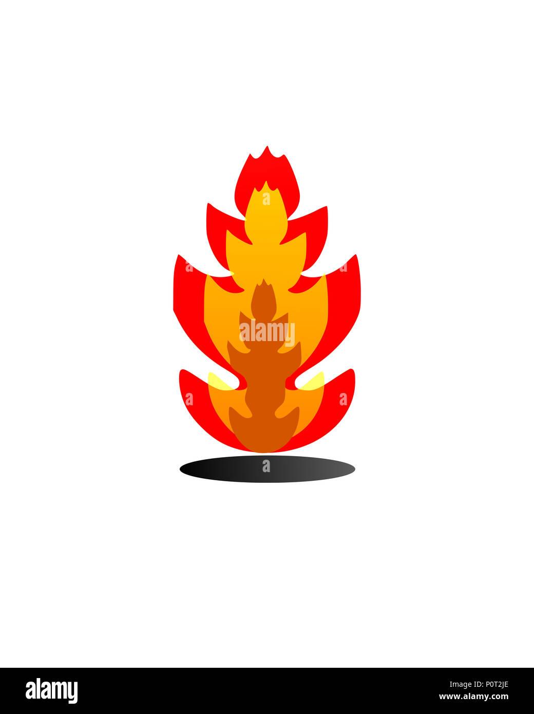 Fire burning Sticker or tattoo (illustrations ) - Stock Image