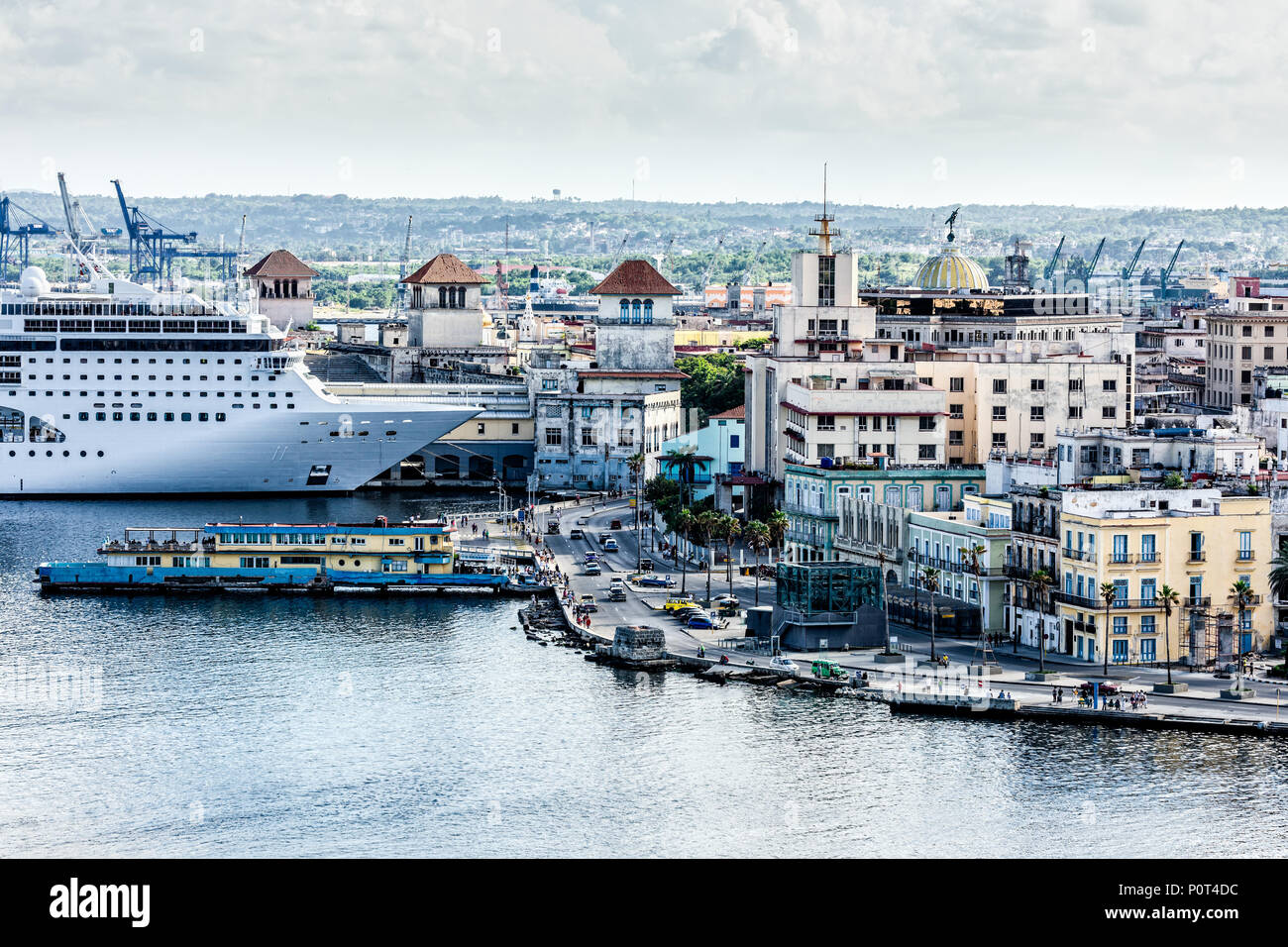 City panorama and big cruise ship docked in port of old Havana, Cuba - Stock Image