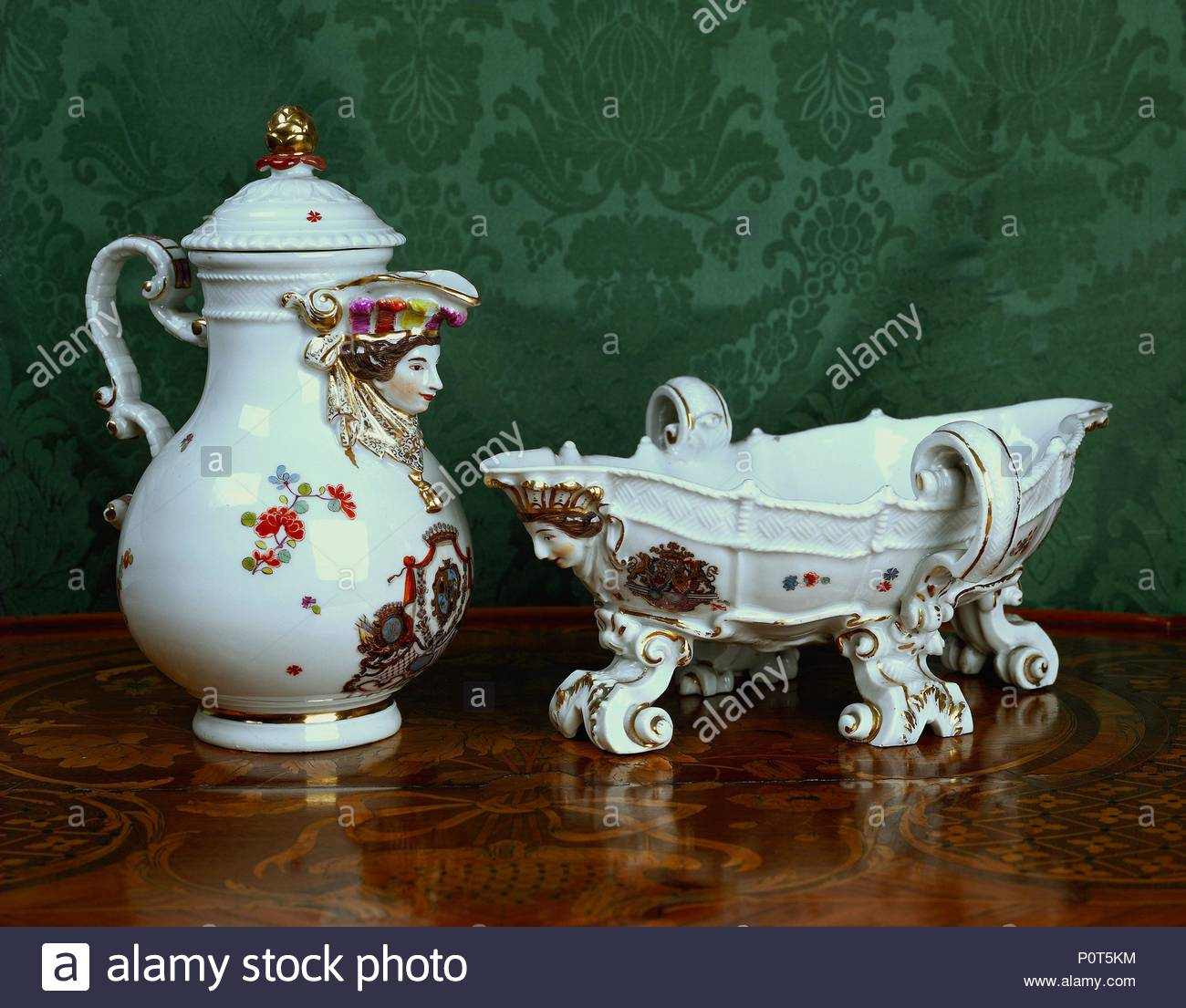 Left Meissen Coffee Pot With Boys Head For A Spout Right Sauce
