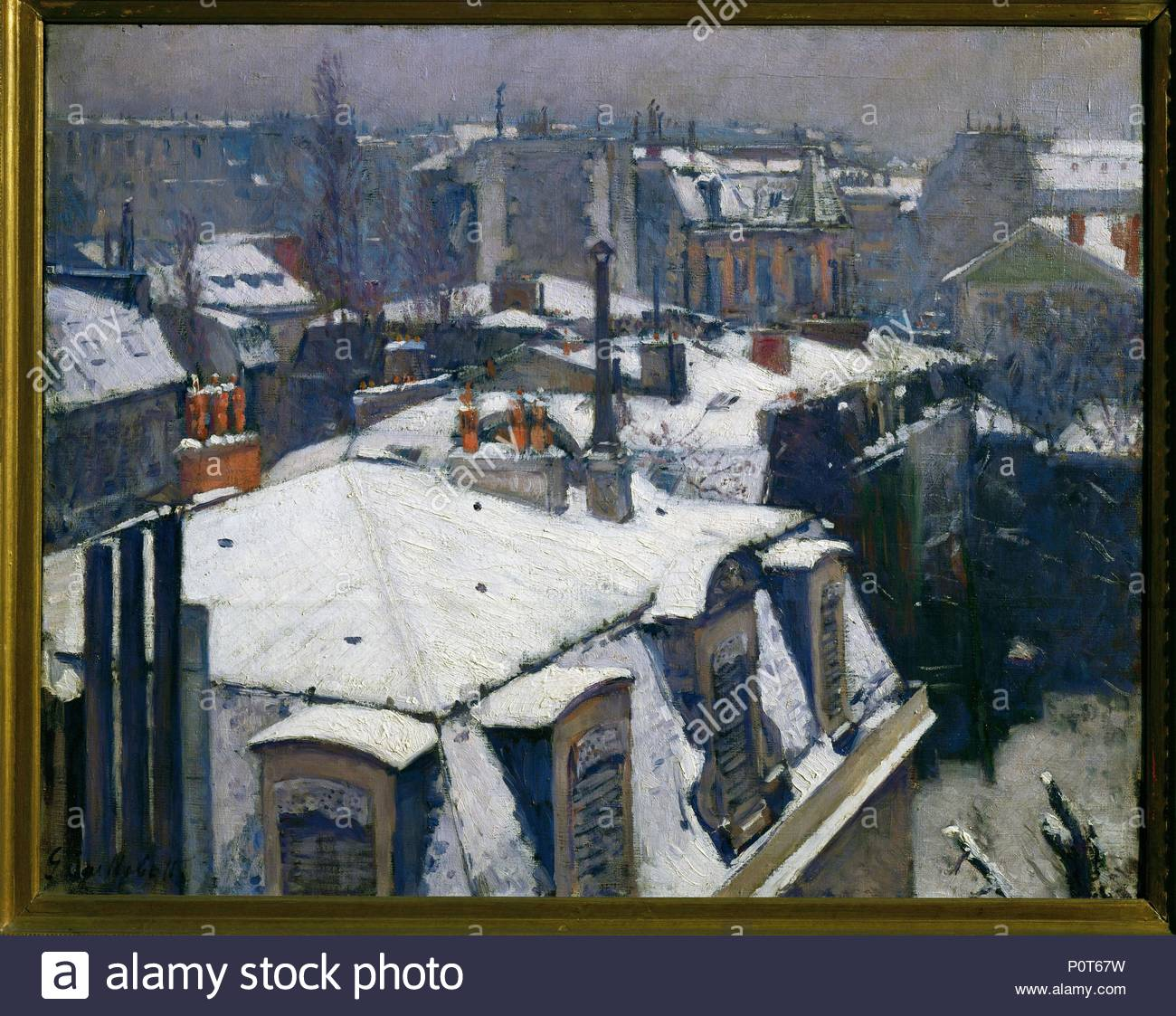Toits sous la neige-Snow on roofs, 1878 Canvas, 64 x 82 cm R. F. 876. Author: Gustave Caillebotte (1848-1894). Location: Musee d'Orsay, Paris, France. - Stock Image