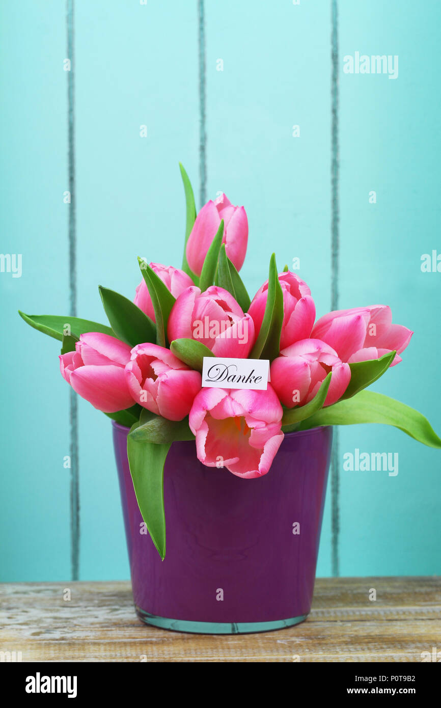Thank you note with beautiful flower bouquet stock photos thank danke thank you in german card with pink tulips in flower pot stock izmirmasajfo
