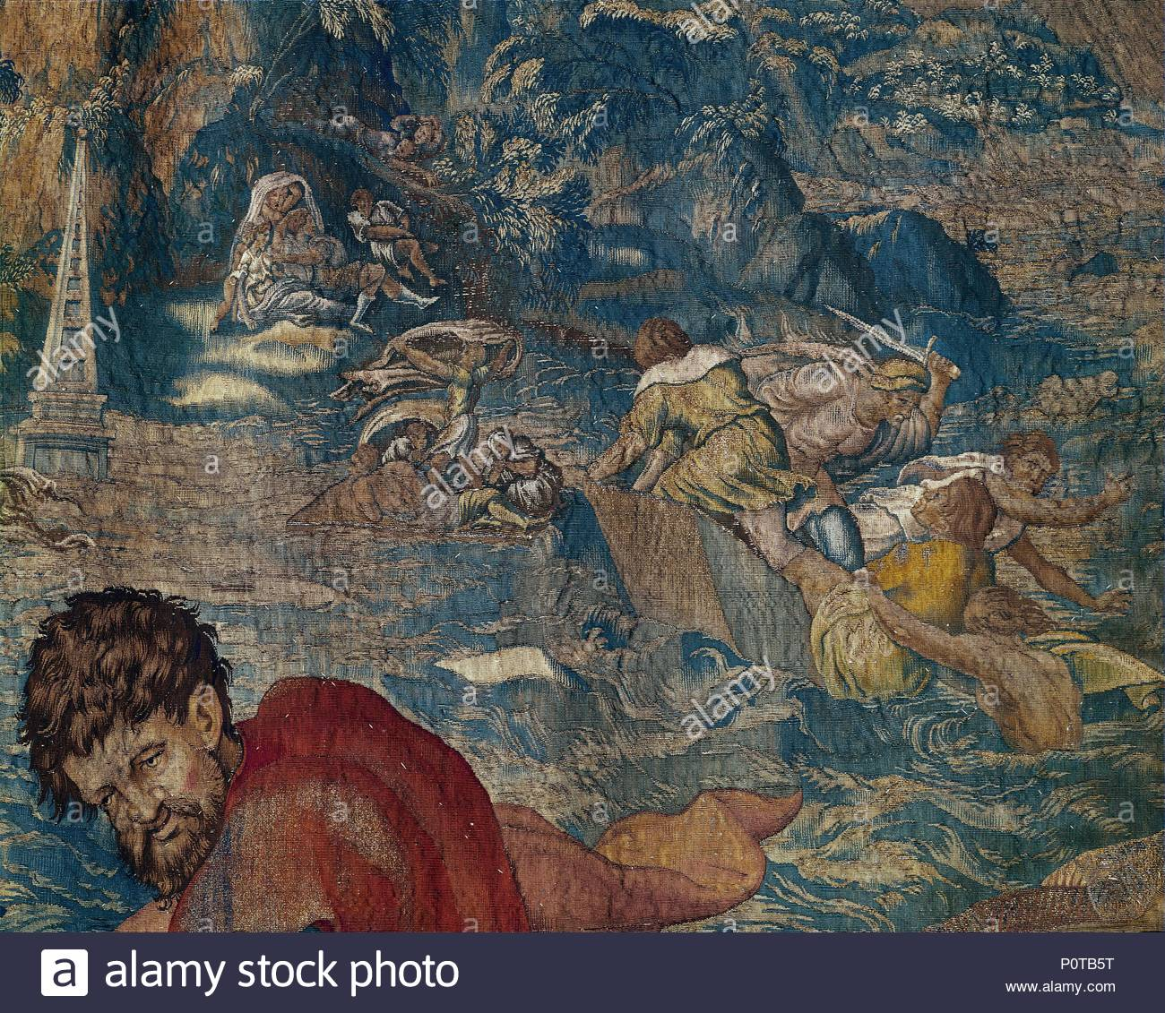 The Noah-Tapestry. People seeking shelter and drowning. Author: Michiel  Coxie (1499-1592). Location: Wawel Castle, Cracow, Poland.