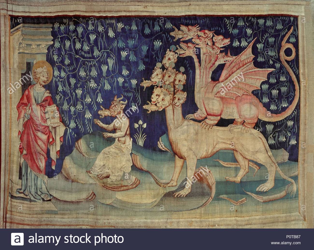 Apocalypse d'Angers,1373-1387, a series of tapestries woben for Louis  I.,Duke of Anjou. Dragons vomiting frogs (Revelations 16: 13-14) .