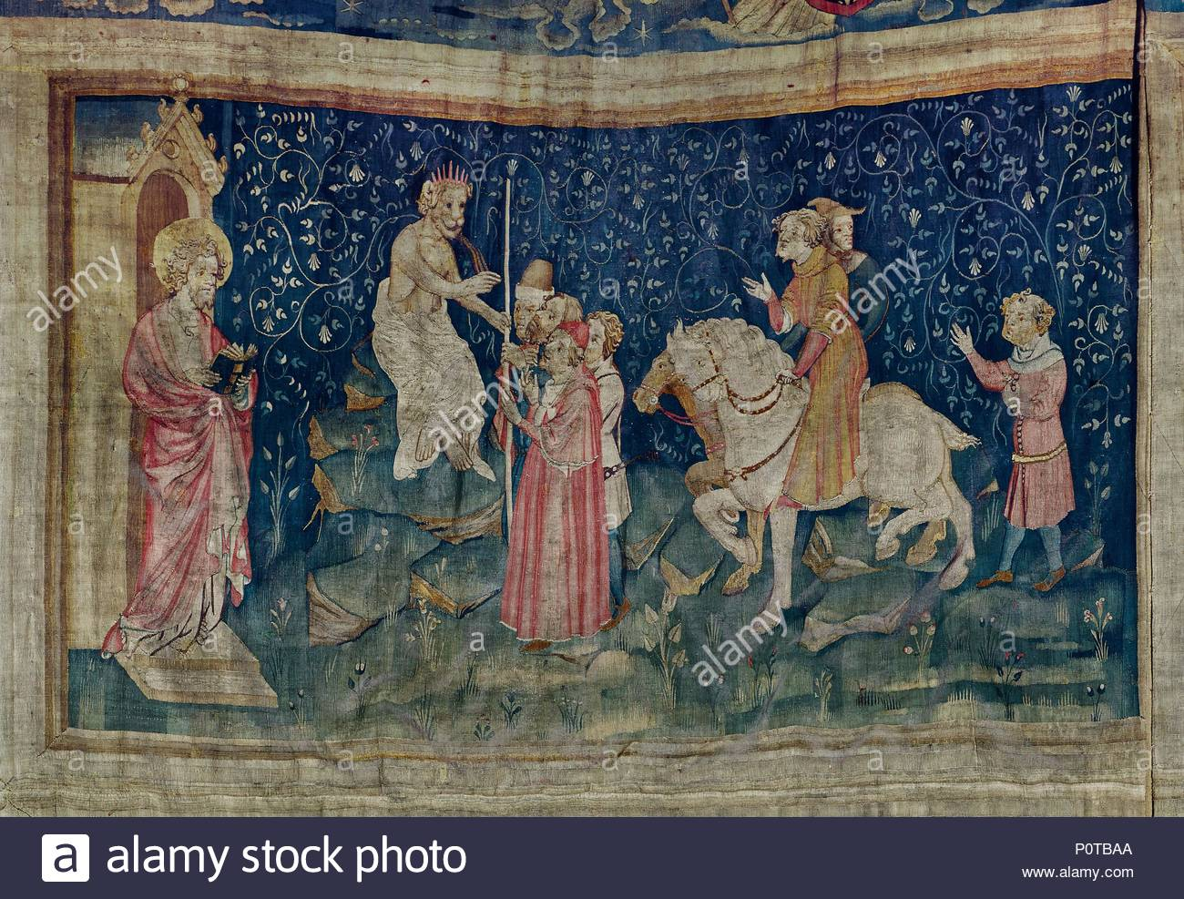 Apocalypse d'Angers,1373-1387, a series of tapestries woven for Louis  I.,Duke of Anjou. #46 The number of the Beast. Author: BATAILLE, NICOLAS.