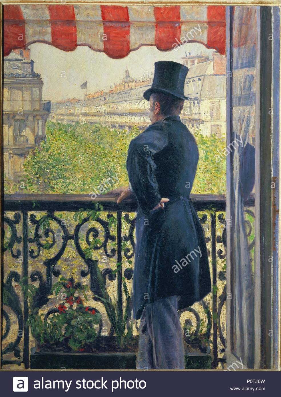 Homme au balcon, Boulevard Haussmann-Man on a balcony, Boulevard Haussmann, 1880. Oil on canvas, 117 x 90 cm. Author: Gustave Caillebotte (1848-1894). Location: Private Collection,, Switzerland. - Stock Image