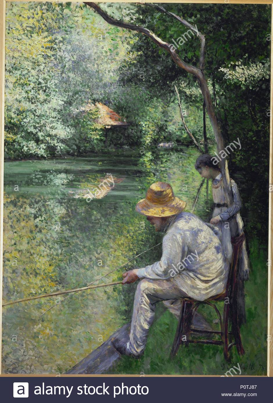 Peche a la ligne-Angling, 1878 Oil on canvas, 157 x 113 cm. Author: Gustave Caillebotte (1848-1894). Location: Private Collection,, France. - Stock Image
