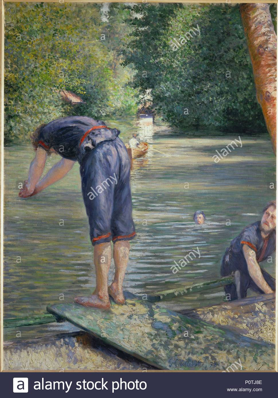 Baigneurs-Bathers, 1878 Oil on canvas, 157 x 117 cm. Author: Gustave Caillebotte (1848-1894). Location: Private Collection,, France. - Stock Image