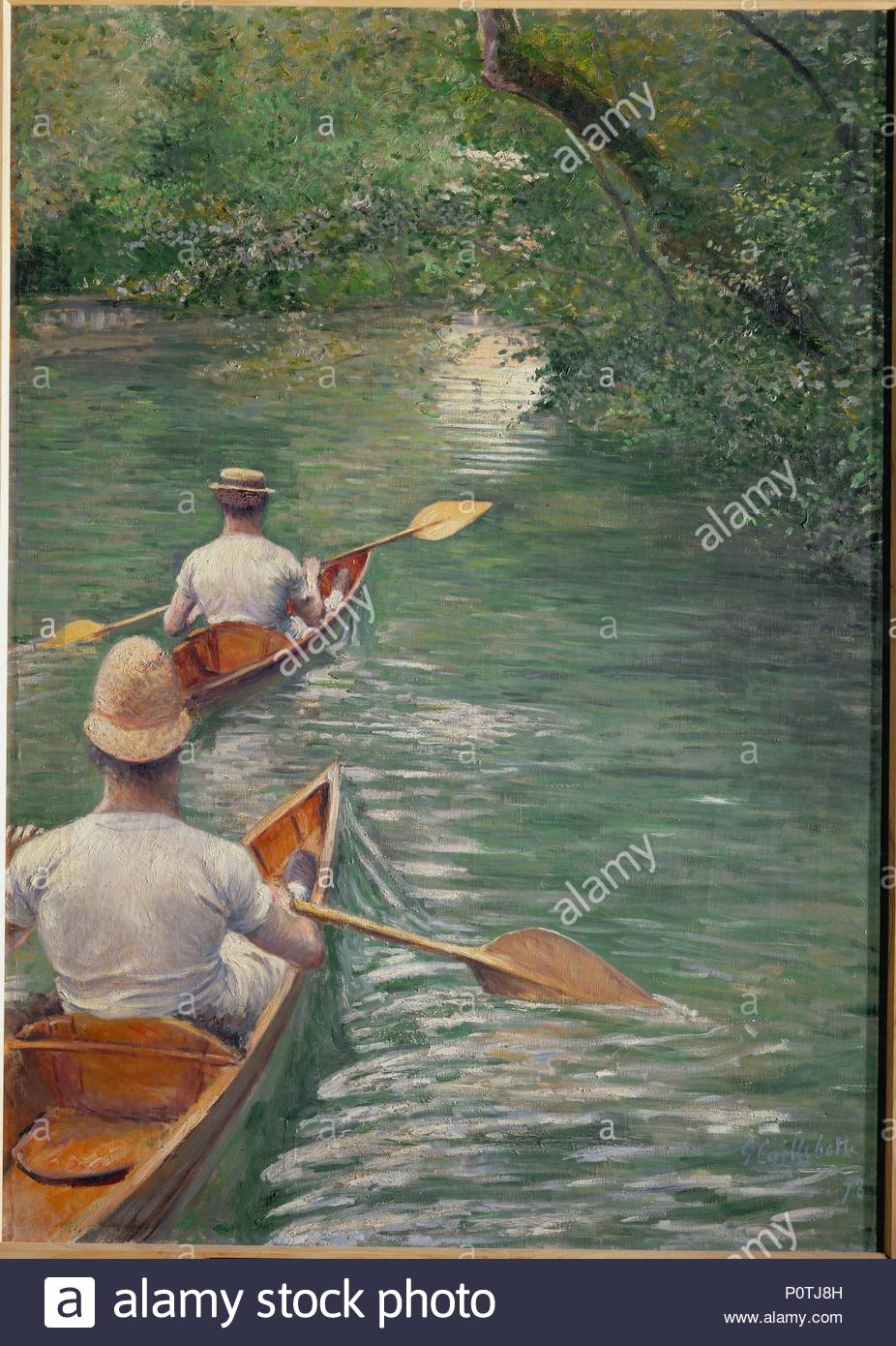 Perissoires-The canoes, 1878 Oil on canvas, 155 x 108 cm. Author: Gustave Caillebotte (1848-1894). Location: Musee des Beaux-Arts, Rennes, France. - Stock Image