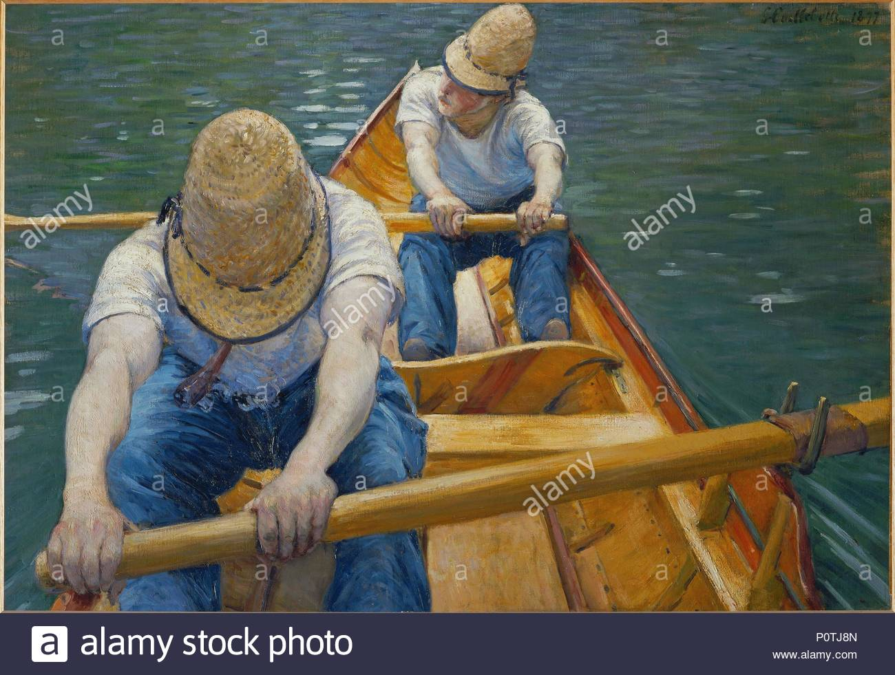 Canotiers-Oarsmen, 1877 Oil on canvas, 81 x 116 cm. Author: Gustave Caillebotte (1848-1894). Location: Private Collection,, France. - Stock Image