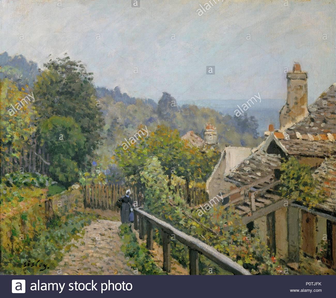 Louveciennes, Sentier de la Mi-cote, vers 1873 Canvas, 38 x 46,5 cm R. F.1937-65. Author: Alfred Sisley (1839-1899). Location: Musee d'Orsay, Paris, France. - Stock Image