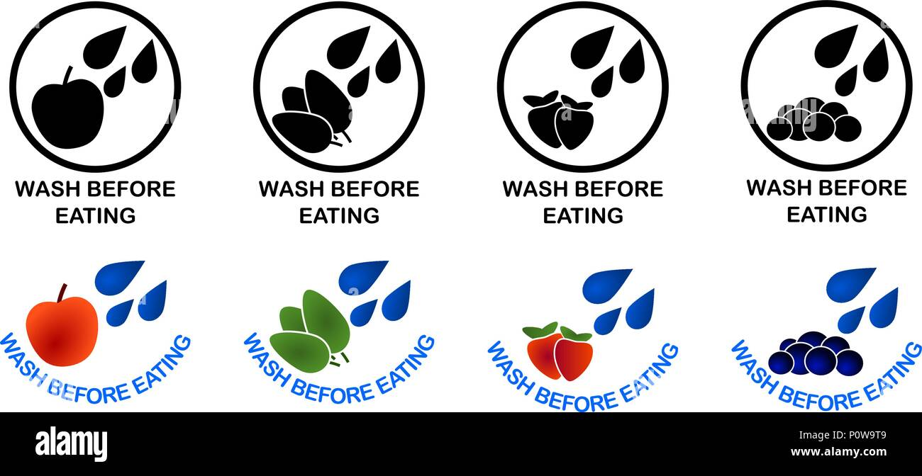 Wash Before Eating Set Of Symbols Black And Color Version Sign